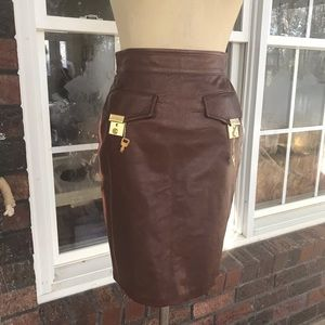 🦋 Gorgeous Moschino Brown Leather skirt